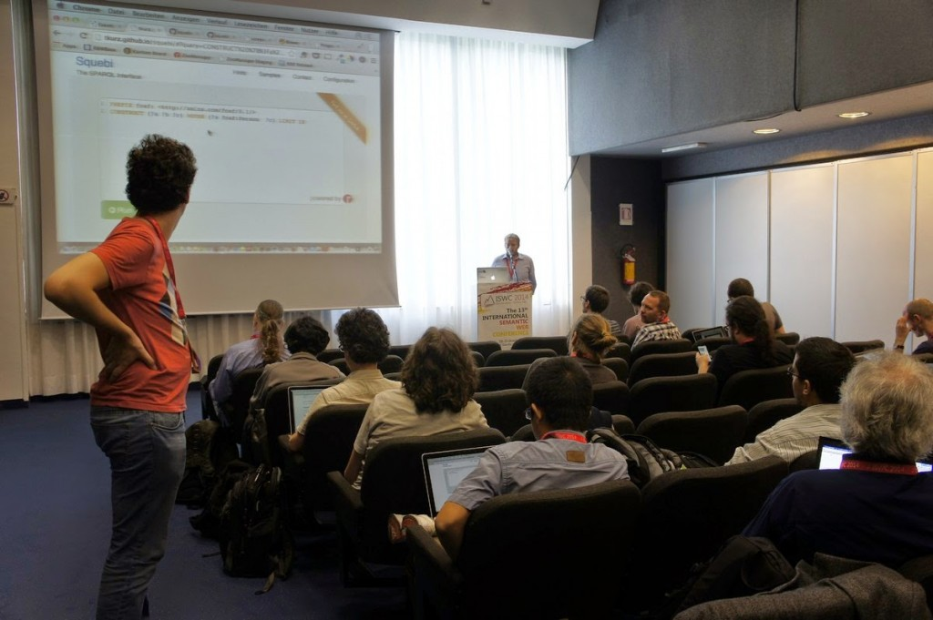 Thomas showcasing Squebi at the ISWC2014 Developers Workshop